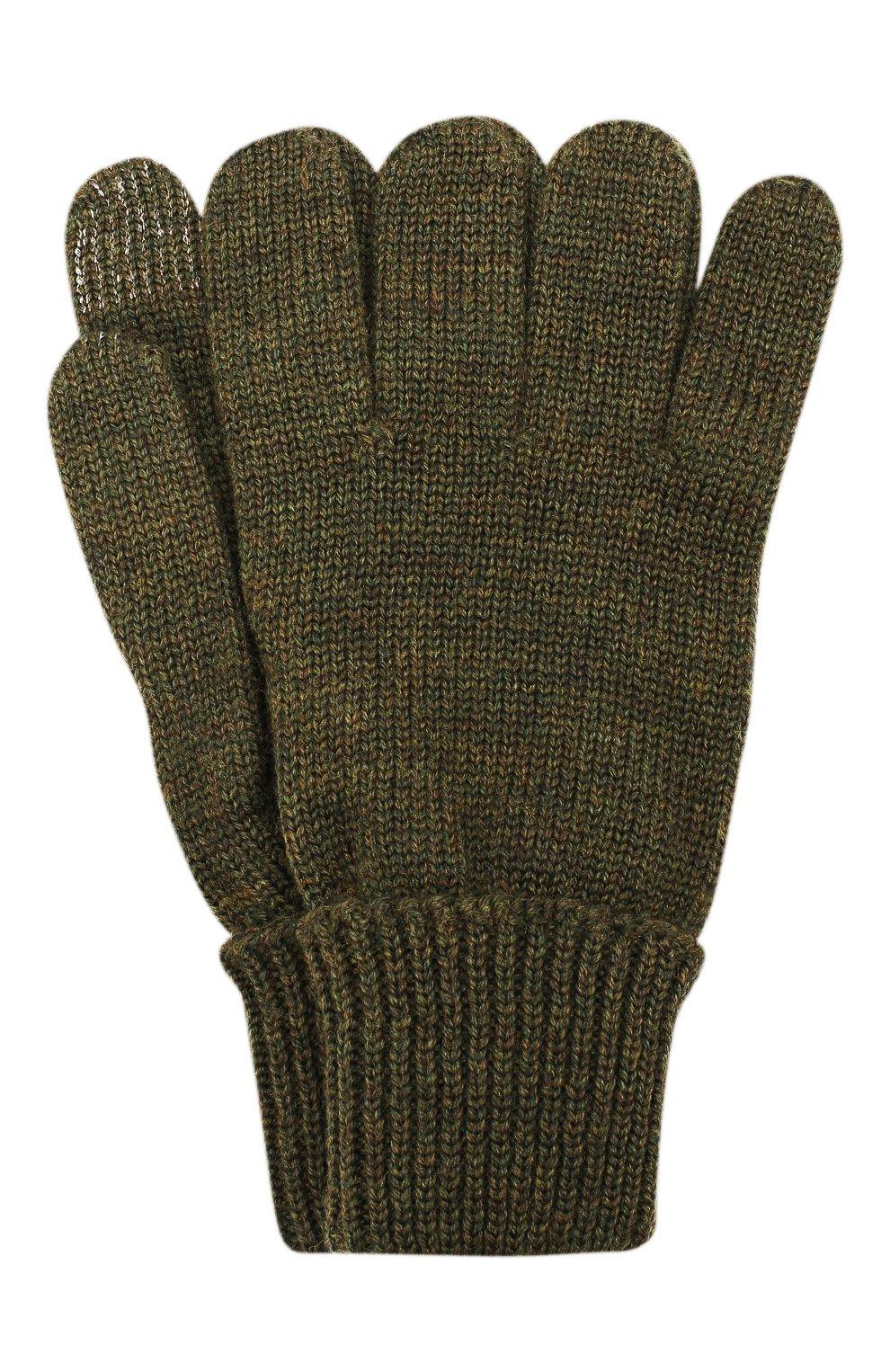Детские шерстяные перчатки IL TRENINO хаки цвета, арт. 19 9004/E0 | Фото 1
