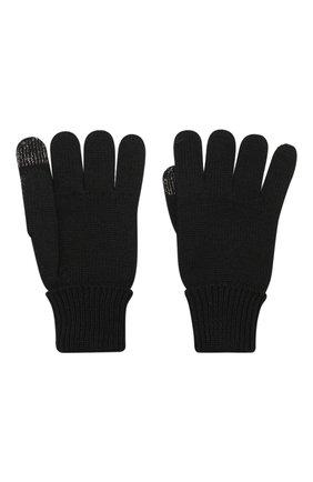 Детские шерстяные перчатки IL TRENINO черного цвета, арт. 19 9004/E0 | Фото 2
