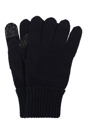 Детские шерстяные перчатки IL TRENINO темно-синего цвета, арт. 19 9004/E0 | Фото 1