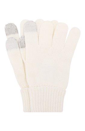 Детские шерстяные перчатки IL TRENINO белого цвета, арт. 19 9004/E0 | Фото 1