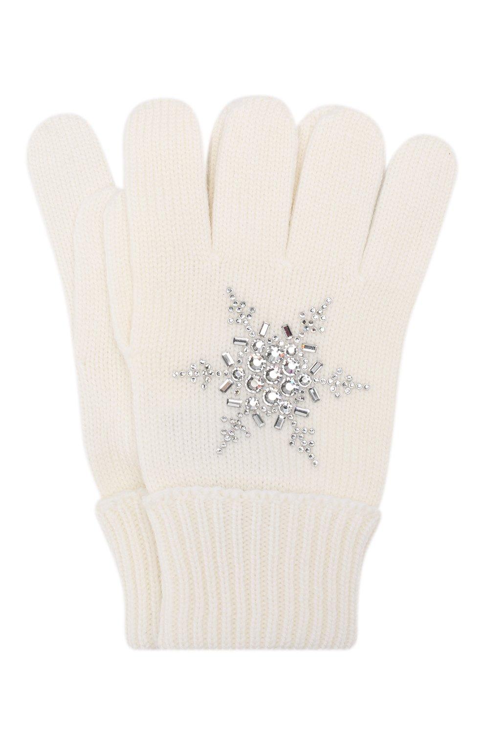 Детские шерстяные перчатки IL TRENINO белого цвета, арт. 19 6293/E0   Фото 1