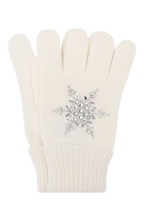 Детские шерстяные перчатки IL TRENINO белого цвета, арт. 19 6293/E0 | Фото 1