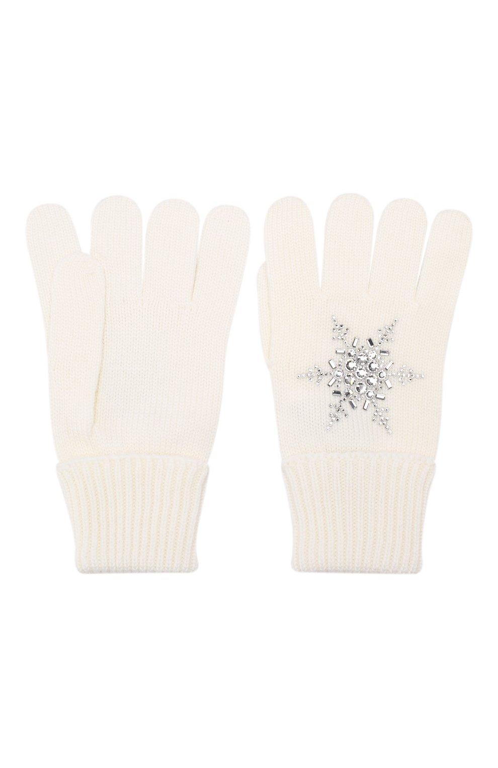 Детские шерстяные перчатки IL TRENINO белого цвета, арт. 19 6293/E0   Фото 2