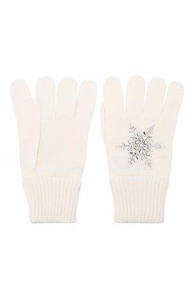 Детские шерстяные перчатки IL TRENINO белого цвета, арт. 19 6293/E0 | Фото 2