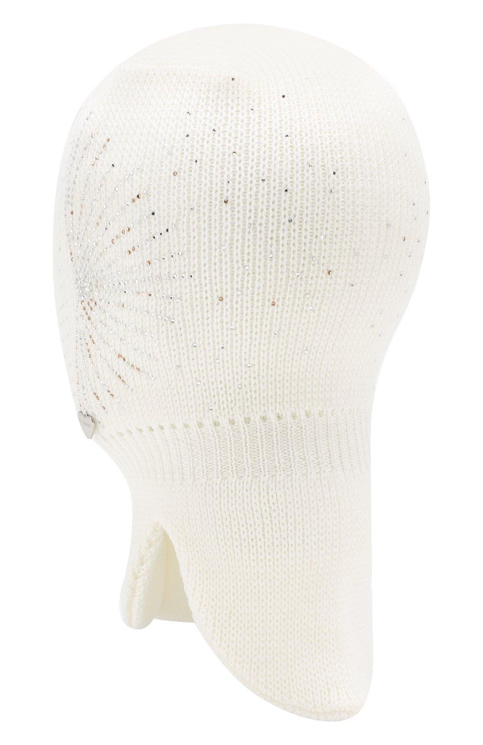 Детского шерстяная шапка-балаклава IL TRENINO белого цвета, арт. 19 6152/E2 | Фото 2