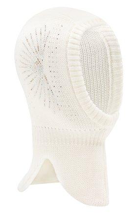 Детского шерстяная шапка-балаклава IL TRENINO белого цвета, арт. 19 6152/E0   Фото 1