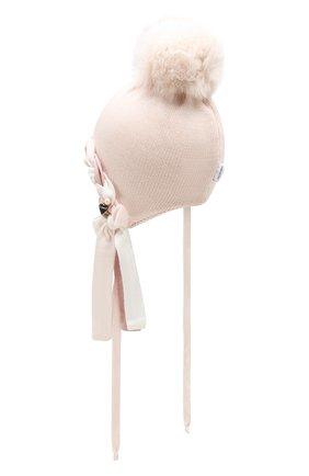 Детского шерстяная шапка с меховым помпоном IL TRENINO светло-розового цвета, арт. 19 6065/E2 | Фото 2