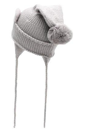 Детского шерстяная шапка с меховым помпоном IL TRENINO серого цвета, арт. 19 5977/FG | Фото 2