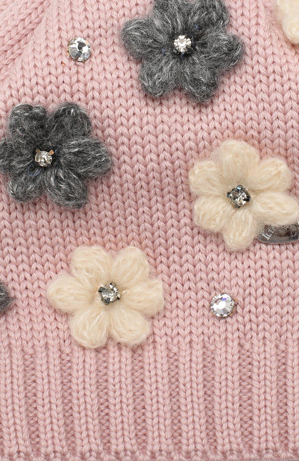 Детского шерстяная шапка IL TRENINO розового цвета, арт. 19 5942/FG | Фото 3
