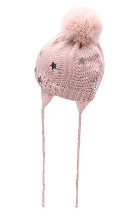 Детского шерстяная шапка с меховым помпоном IL TRENINO розового цвета, арт. 19 5870/EY | Фото 2