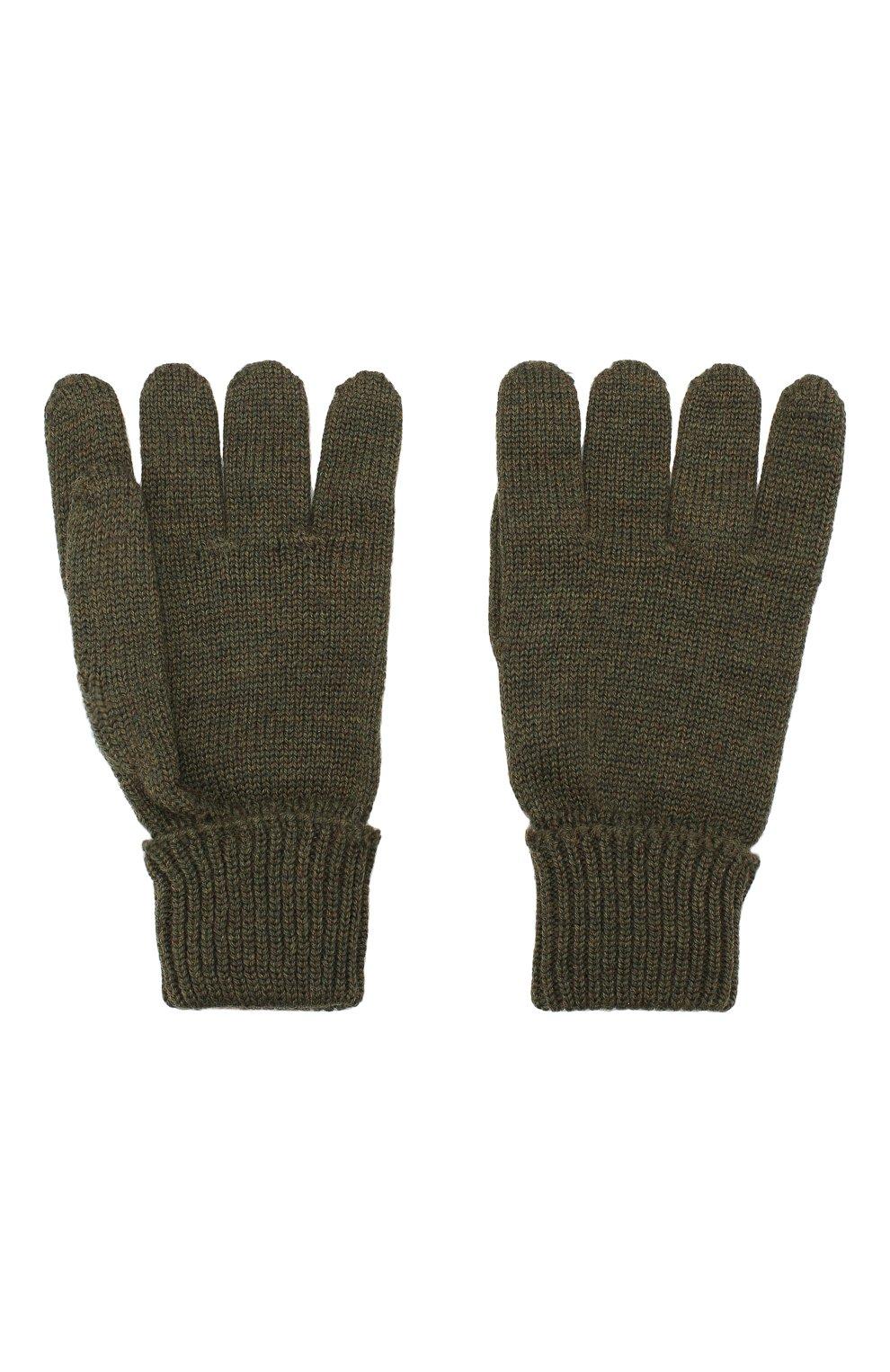 Детские шерстяные перчатки IL TRENINO хаки цвета, арт. 19 5059/E0   Фото 2