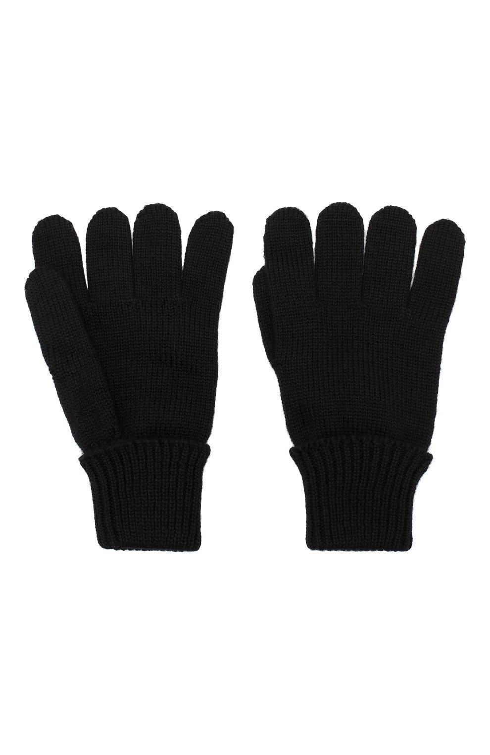Детские шерстяные перчатки IL TRENINO черного цвета, арт. 19 5059/E0 | Фото 2