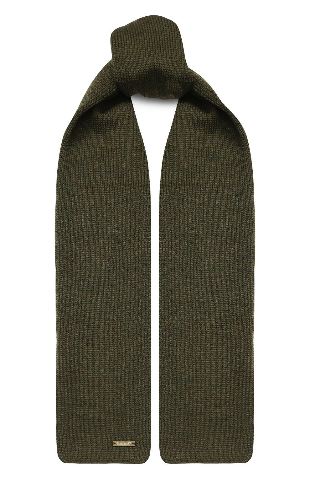 Детский шерстяной шарф IL TRENINO хаки цвета, арт. 19 1121/E0   Фото 1