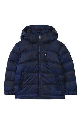 Детский пуховая куртка с капюшоном POLO RALPH LAUREN синего цвета, арт. 322746859 | Фото 1