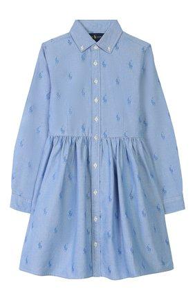 Детское хлопковое платье-рубашка POLO RALPH LAUREN голубого цвета, арт. 313756657 | Фото 1