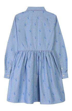 Детское хлопковое платье-рубашка POLO RALPH LAUREN голубого цвета, арт. 313756657 | Фото 2