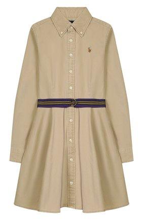 Детское хлопковое платье-рубашка POLO RALPH LAUREN бежевого цвета, арт. 313699674 | Фото 1