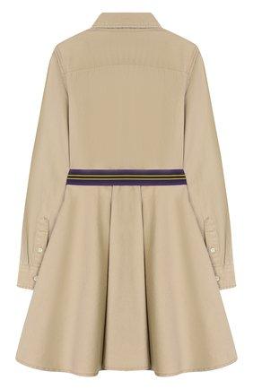 Детское хлопковое платье-рубашка POLO RALPH LAUREN бежевого цвета, арт. 313699674 | Фото 2