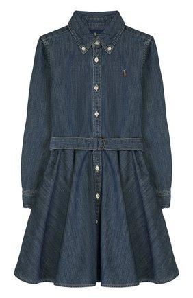 Детское хлопковое платье-рубашка POLO RALPH LAUREN синего цвета, арт. 312698860 | Фото 1