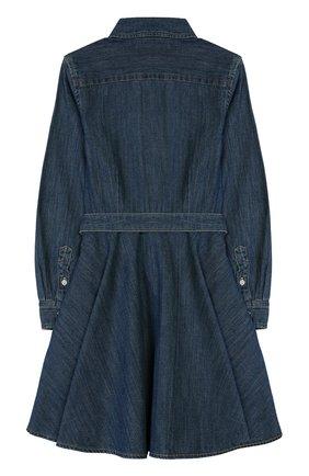 Детское хлопковое платье-рубашка POLO RALPH LAUREN синего цвета, арт. 312698860 | Фото 2
