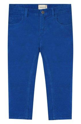 Детские хлопковые брюки GUCCI синего цвета, арт. 566100/XDAN0 | Фото 1