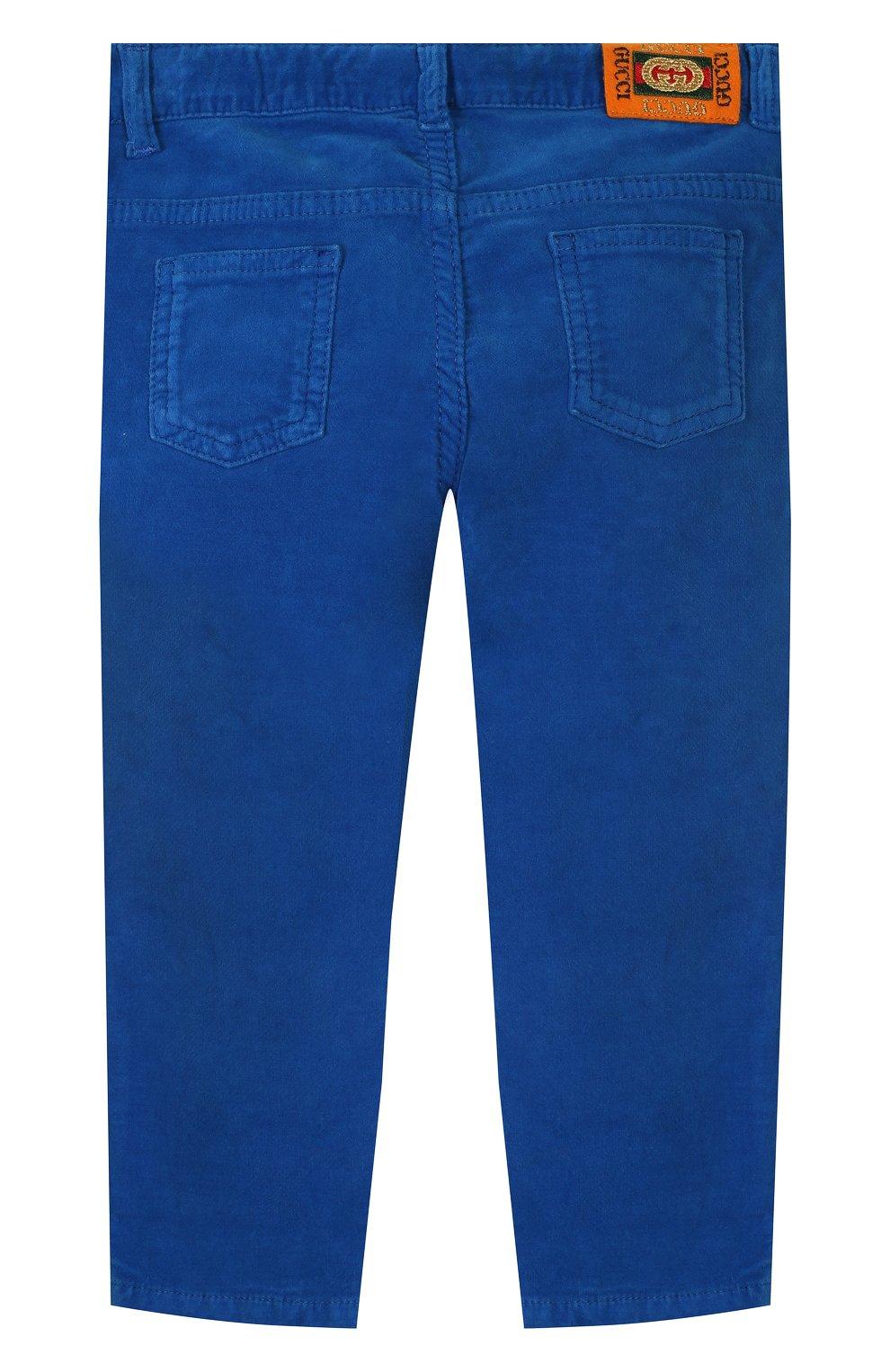 Детские хлопковые брюки GUCCI синего цвета, арт. 566100/XDAN0 | Фото 2
