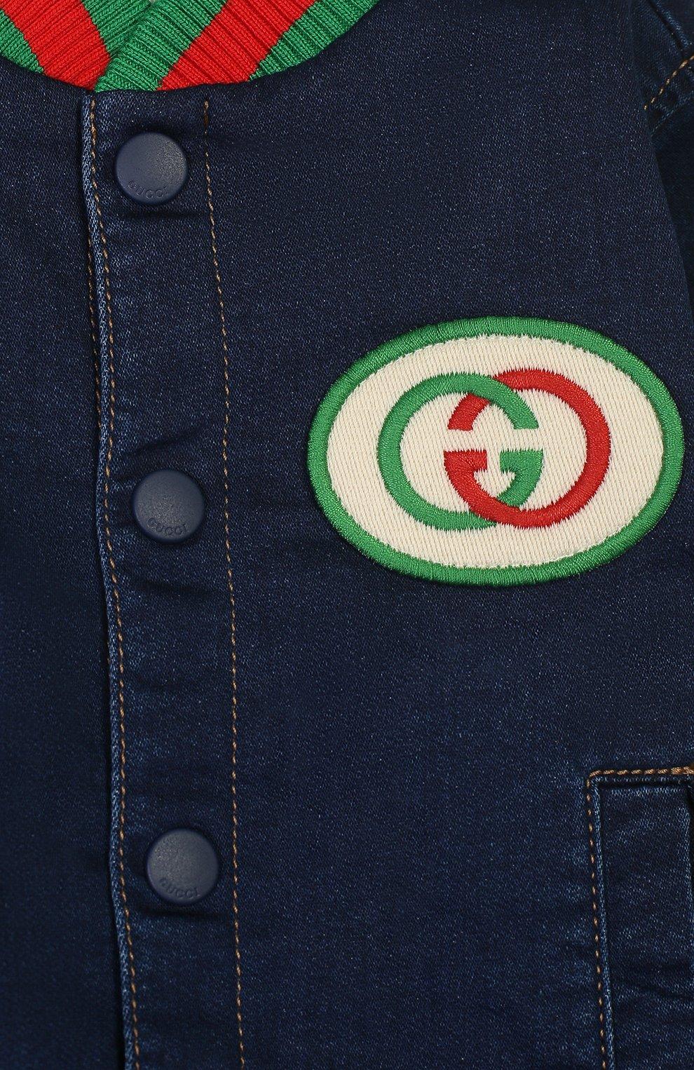 Детского джинсовый бомбер GUCCI синего цвета, арт. 547186/XJA66 | Фото 3