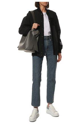 Женские кожаные кеды ALEXANDER MCQUEEN голубого цвета, арт. 553770/WHGP7 | Фото 2 (Материал внутренний: Натуральная кожа; Подошва: Платформа; Статус проверки: Проверена категория)