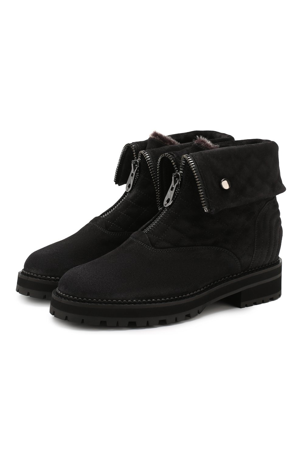 Женские замшевые ботинки PERTINI темно-серого цвета, арт. 192W16082C1   Фото 1