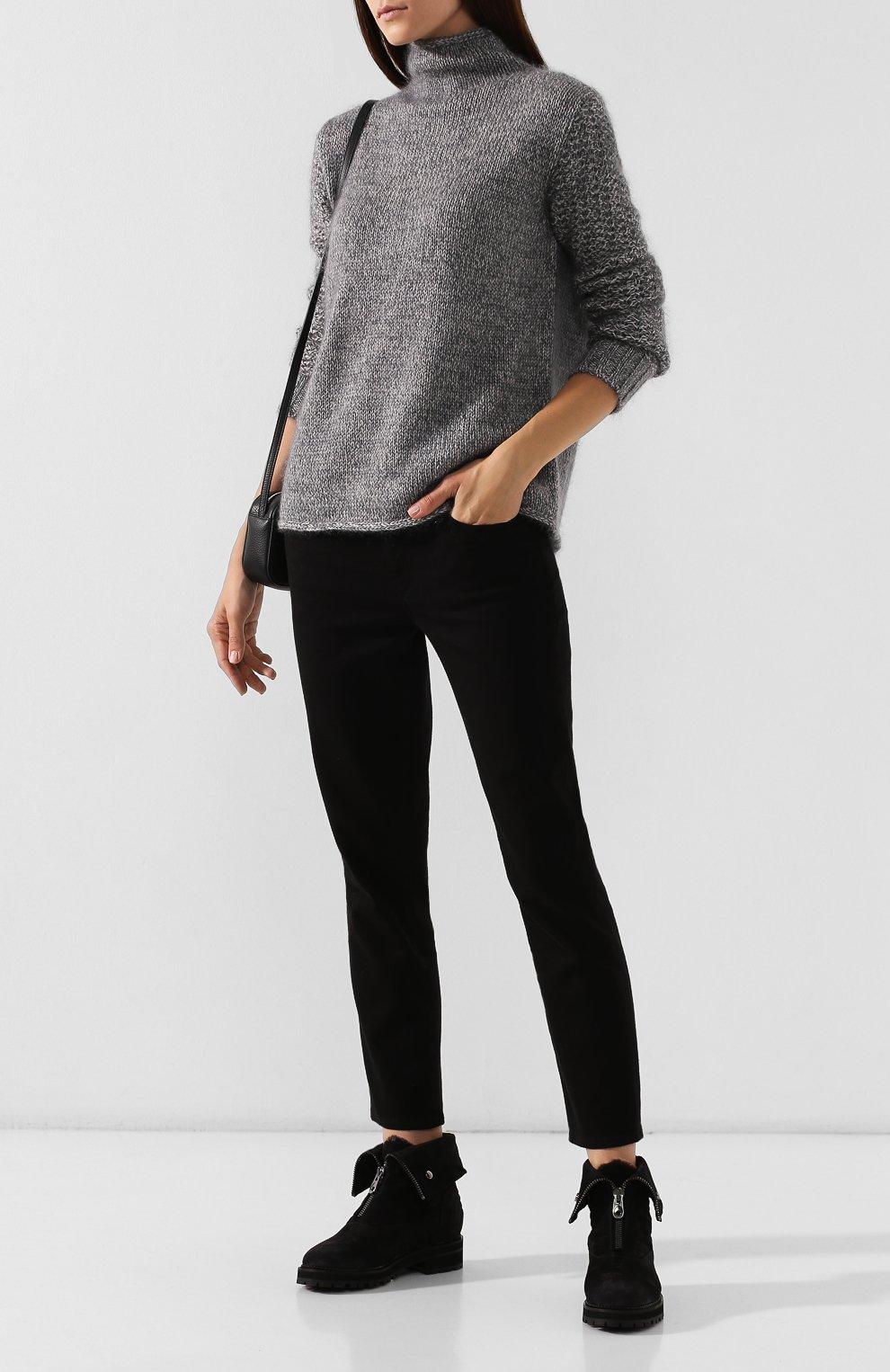 Женские замшевые ботинки PERTINI темно-серого цвета, арт. 192W16082C1   Фото 2