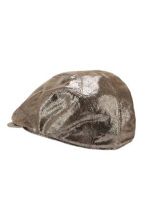 Женская кожаное кепи BRUNELLO CUCINELLI хаки цвета, арт. MCAP90111 | Фото 2
