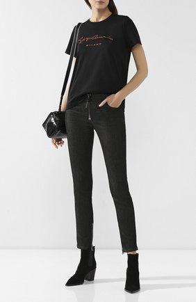 Женская хлопковая футболка GIORGIO ARMANI черного цвета, арт. 6GAM90/AJRQZ | Фото 2