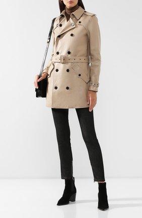 Женский кожаный тренч SAINT LAURENT коричневого цвета, арт. 562636/YC2UE | Фото 2