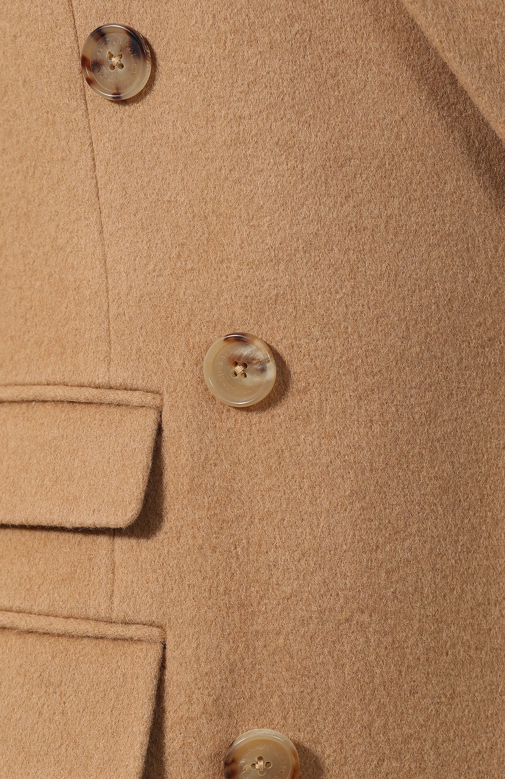 Женское шерстяное пальто RALPH LAUREN бежевого цвета, арт. 290767148   Фото 5 (Материал внешний: Шерсть; Рукава: Длинные; Длина (верхняя одежда): До колена; 1-2-бортные: Двубортные; Материал подклада: Купро; Стили: Кэжуэл; Статус проверки: Проверена категория)