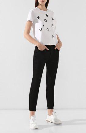 Женская хлопковая футболка MICHAEL MICHAEL KORS белого цвета, арт. MU95M9397J | Фото 2