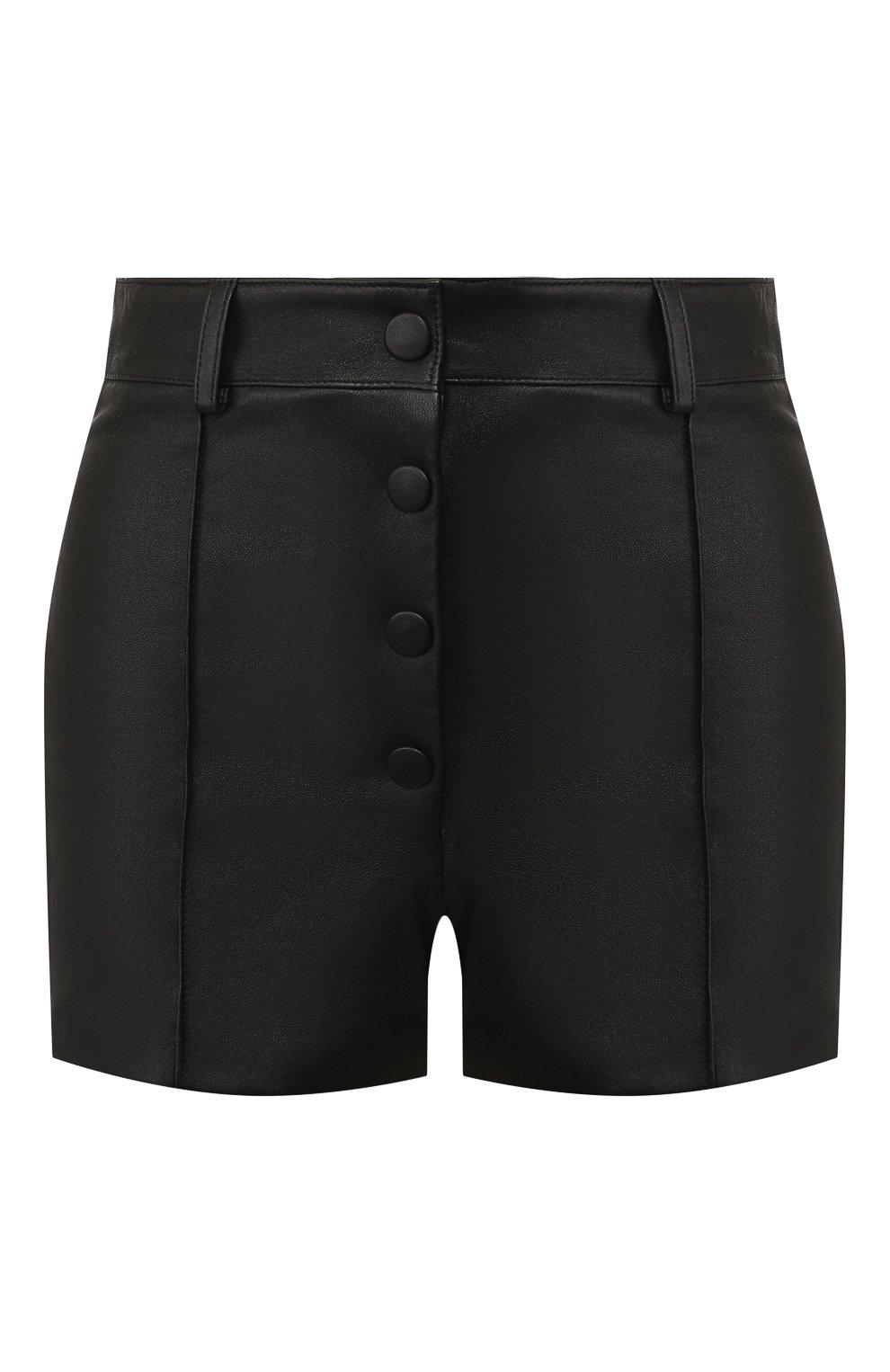 Женские кожаные шорты VALENTINO черного цвета, арт. SB3NH01L45H   Фото 1
