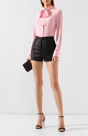 Женские кожаные шорты VALENTINO черного цвета, арт. SB3NH01L45H | Фото 2