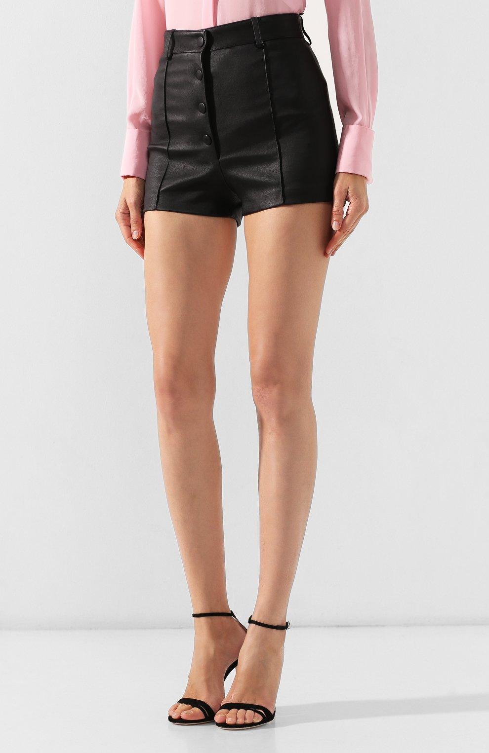Женские кожаные шорты VALENTINO черного цвета, арт. SB3NH01L45H   Фото 3