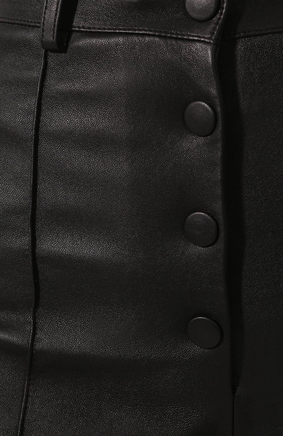 Женские кожаные шорты VALENTINO черного цвета, арт. SB3NH01L45H   Фото 5