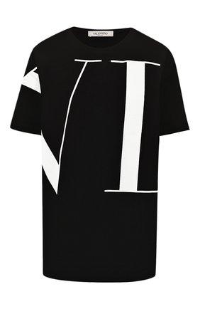 Женская хлопковая футболка VALENTINO черного цвета, арт. SB3MG09H4AM | Фото 1