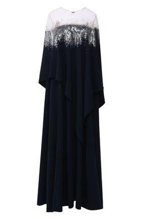 Женское шелковое платье-туника OSCAR DE LA RENTA темно-синего цвета, арт. 19PE906HSG | Фото 1