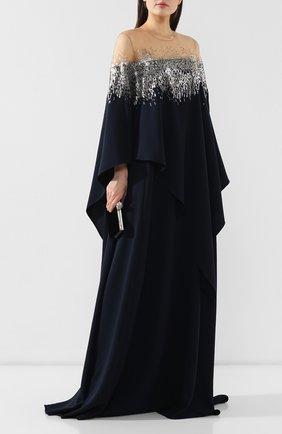 Женское шелковое платье-туника OSCAR DE LA RENTA темно-синего цвета, арт. 19PE906HSG | Фото 2