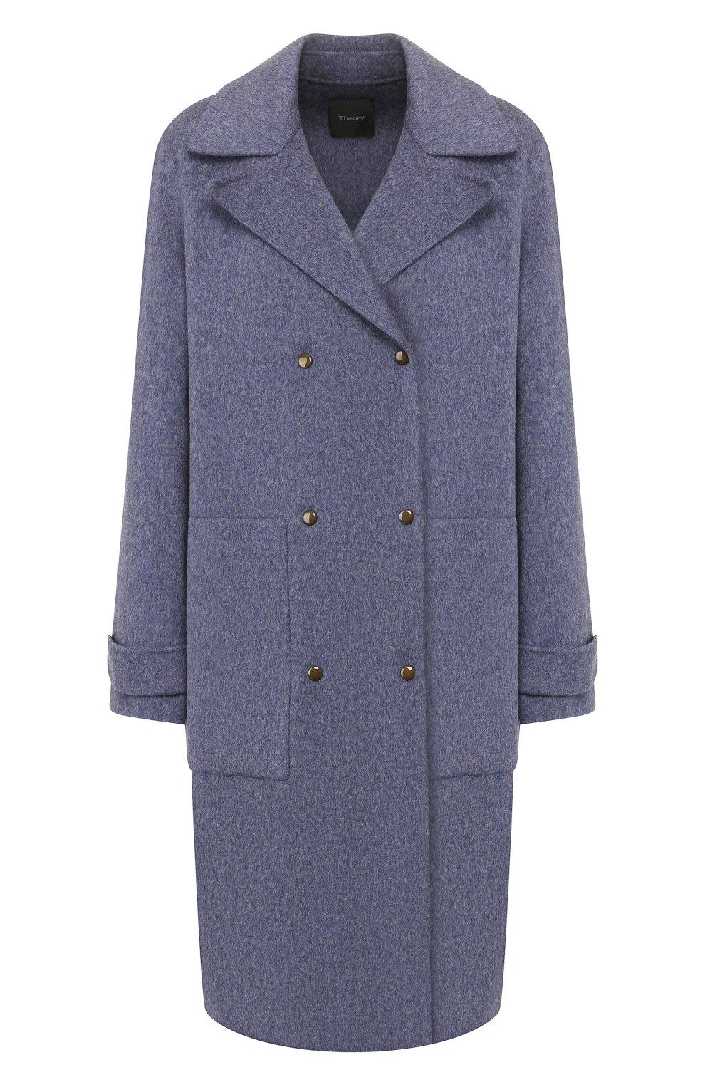 Женское пальто из смеси шерсти и кашемира THEORY синего цвета, арт. J0601405 | Фото 1