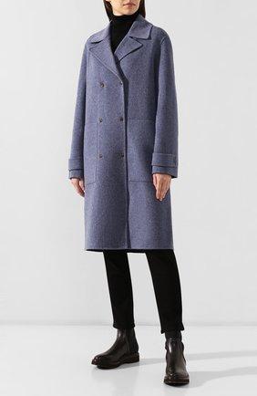 Женское пальто из смеси шерсти и кашемира THEORY синего цвета, арт. J0601405 | Фото 3