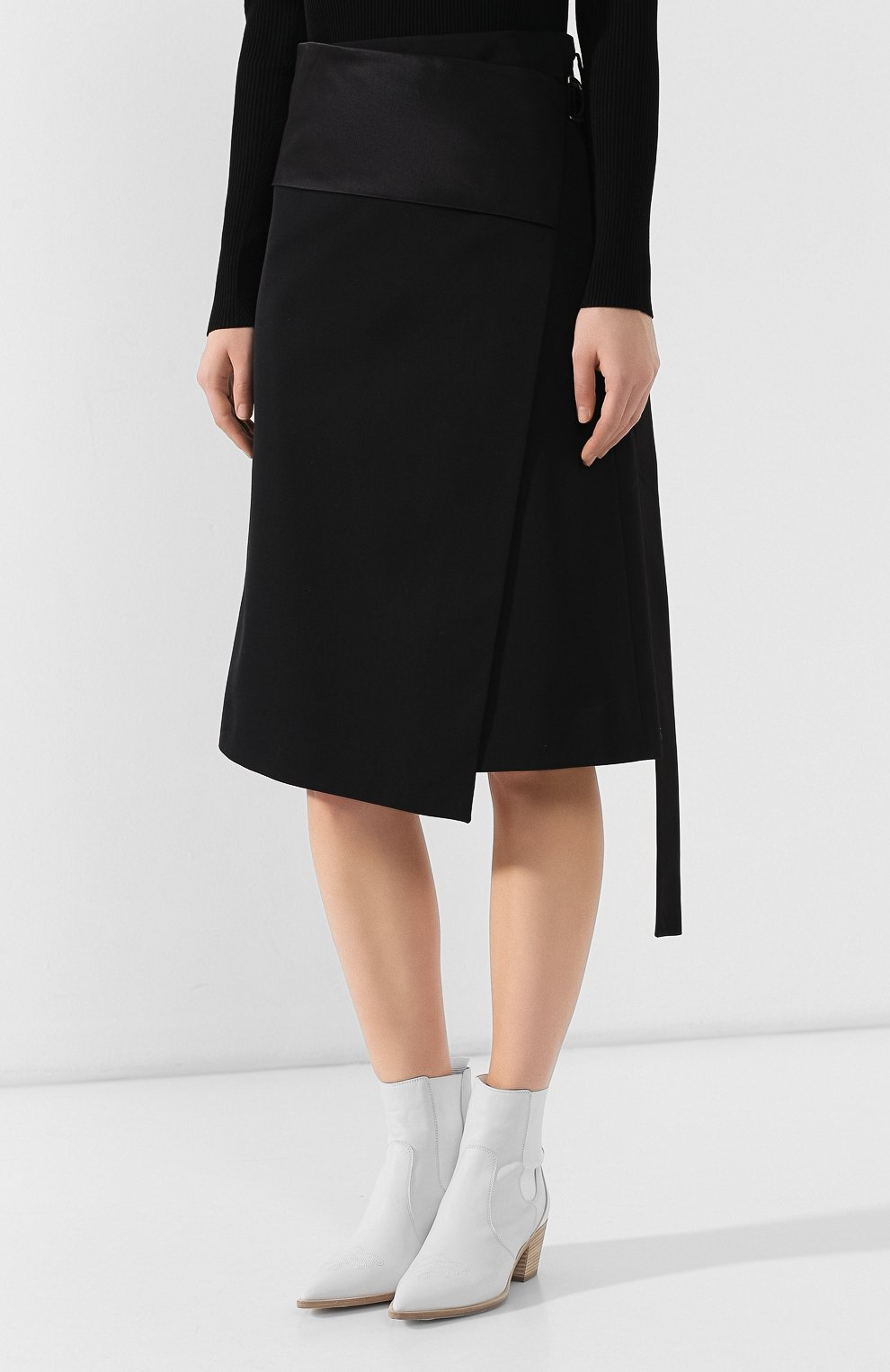 Женская шерстяная юбка HELMUT LANG черного цвета, арт. J05HW303 | Фото 3