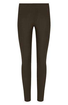 Женские кожаные брюки HELMUT LANG хаки цвета, арт. G06HW240 | Фото 1