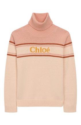 Детский свитер из хлопка и шерсти CHLOÉ светло-розового цвета, арт. C15A78 | Фото 1