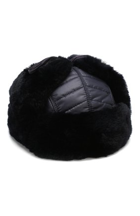 Детского шерстяная шапка-ушанка с меховой отделкой IL TRENINO темно-синего цвета, арт. 18 7433/E0 | Фото 1