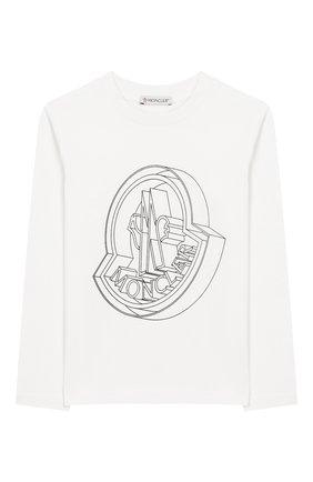 Детская хлопковый лонгслив MONCLER ENFANT белого цвета, арт. E2-954-80270-50-83092/8-10A | Фото 1