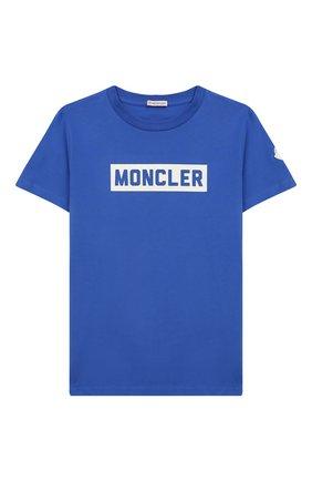 Детская хлопковая футболка MONCLER ENFANT бирюзового цвета, арт. E2-954-80269-50-83092/4-6A | Фото 1